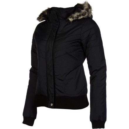 Surf The Volcom Women's Hot Mitts Puffer Bomber knows how to keep you feeling city chic, comfortable, and warm all at the same time. - $40.25