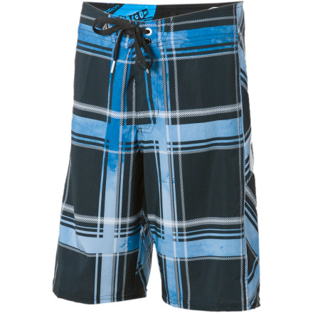 Surf When you dress your little man in the Volcom Little Boys' Plaiter Board Short, its plaid stripe print easily reminds you of that time he lost his shorts in the neighborhood pool and had to use the tablecloth to cover himself up. Classic. - $15.78