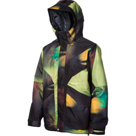 Snowboard Volcom mixes prime tech with killer style in the Men's Iron Jacket. Zip up in this jacket and you'll feel pure coolness dripping off of you, but you'll never have to deal with the feel of moisture dripping anywhere. Even when fresh snow starts coming down hard, you'll stay dry in this shell. - $139.98