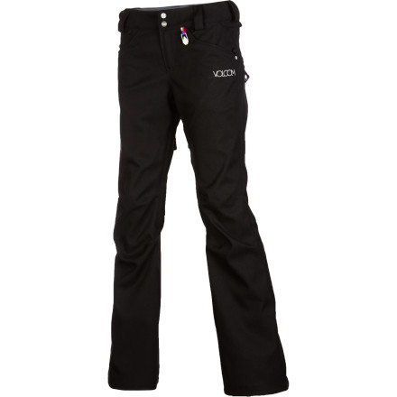 Snowboard The Volcom Species Stretch Pant combines a flattering fit with oodles of storm-stopping power. Stretchy V-Science twill fabric features a 15K-rated waterproof membrane for reliable protection in almost any conditions, and Volcom's patented Zip Tech system for a complete seal against intruding snow. - $98.97