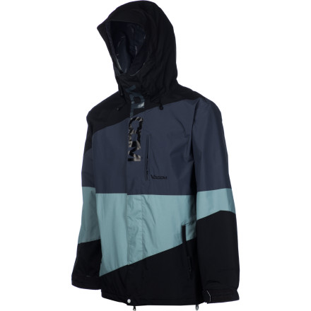 Snowboard The Volcom Men's Ekin Jacket serves up solid weather protection to keep you dry when you're lapping the park or searching for untouched stashes around the resort. Zip up in this gimmick-free shell when you want all-around awesomeness that will keep you feeling good from first chair to last lift. - $99.98