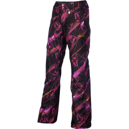 Snowboard A couple falls won't get you down when you're wearing the Volcom Zoomer Women's Snowboard Pant. Removable knee pads keep your knees from getting wrecked if you slip out on a box, and the reinforced butt patch prevents your pants from getting ripped if you slide down an icy patch. - $63.98