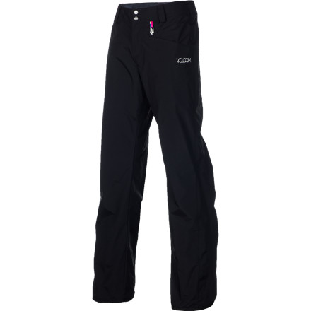 Snowboard If you need a simple pant without all the bells and whistles, look no further than the Volcom Logic Women's Snowboard Pant. 5K-rated fabric keeps you dry in everyday conditions, and the regular fit allows plenty of room to layer for when temperatures drop. What more could you want - $49.48