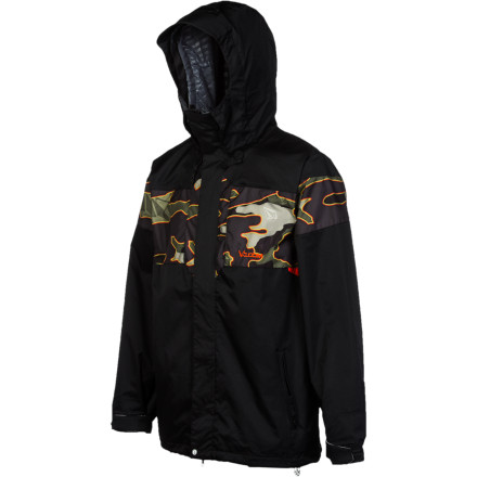 Snowboard The Volcom Men's Over Jacket shields you from the snow so you can forget about the wet stuff on your jacket and focus on the white stuff piling up in stashes all over the mountain. All you have to do is zip up and let this burly shell keep you dry while you ride. - $120.97