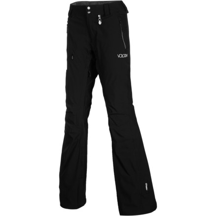 Snowboard Before you head to the mountain, slip your legs into the Volcom Women's Helvella 4-Way Stretch Pants. These weather-blocking pants work hard to keep your bottom half dry so you can play hard all day long without getting soggy. Plus, they're super-flexible so you won't feel tied down while you ride. - $90.98