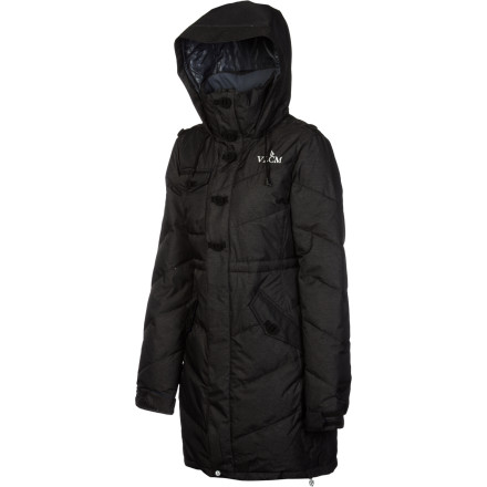 Ski The Volcom Women's Lethal Down Parka brings mountain tech down to the valleys to keep you warm all season long. Whether you wear this jacket while you wander ski-town shops or while you're out running errands in the middle of a city blizzard, warm down and moisture-resistant fabric protect you from the winter onslaught. - $144.98
