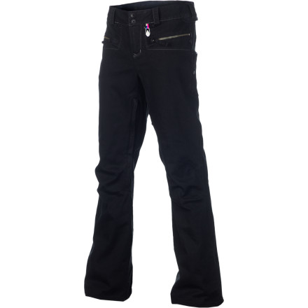 Snowboard Instead of looking like you're wearing a sack to the mountain this year, why not give the Volcom Women's Porcini 2L VBJ Snowboard Pant a try The Porcini has a slim, feminine cut with a casual denim look, and it gives you plenty of protection for warmer days (think March) at the mountain. Keep in mind, the Porcini probably won't hold back a mid-January blizzard, but it looks great the rest of the season. - $103.98