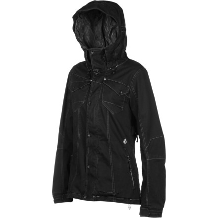 Snowboard The Volcom Women's Poppy 2L VBJ Jacket blends the fashion-forward look of classic denim with enough weather-blocking tech to keep you dry when you're riding the resort. Zip up in this sleek, well-fitted jacket when you want to look great from the park to the slope-side bar. - $130.48