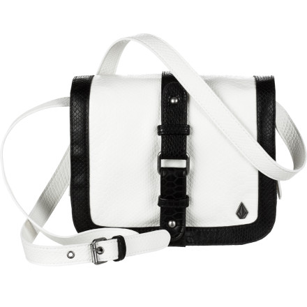 Entertainment The Volcom Women's Rattlestone Crossbody Purse throws down with bold, unique style that will keep you looking hot from your first drink to the after-party. Rock this fierce bag when you want to make a statement. - $38.96