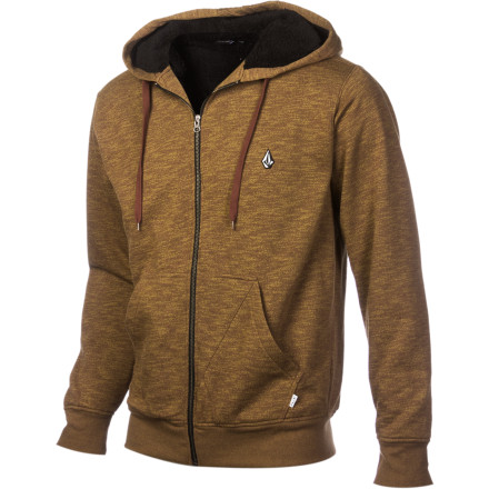 Snowboard The Volcom Men's Peps Sherpa Lined Full-Zip Hoodie keeps of the chill thanks to its ultra-cozy Sherpa lining. Zip up in this hoodie when you want to keep off the chill, but you aren't quite ready to bundle up in your snowboarding jacket. - $47.67