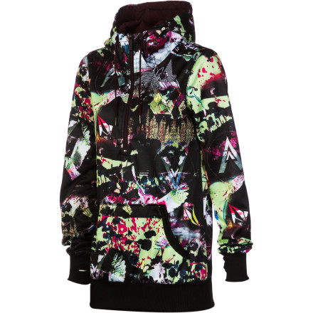 Surf Volcom Snow Owl Long Fleece Hooded Pullover - Women's - $43.97