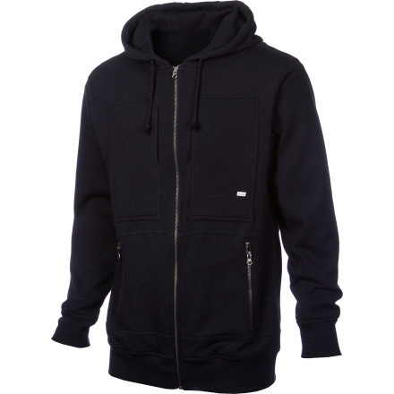 Surf The Volcom Men's Station Waffle Lined Full-Zip Hoodie is relaxed and comfortable enough for laid-back hangouts at home, but it still packs in enough style to keep you looking good should you manage to make it off the couch. - $43.70