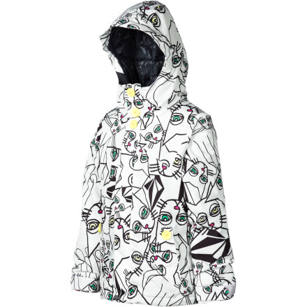 Snowboard The Volcom Girls' Poppins Insulated Jacket will keep your little lady cozy whether she's rocking her snowboard through the park in the middle of a fresh snowfall or floating to her next babysitting gig on a high-altitude umbrella. When she's zipped up in this jacket, she's protected from snow and cold thanks to weather-blocking fabric and warm insulation. - $63.98
