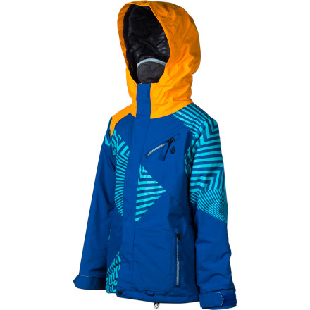 Snowboard The Volcom Boys' Mission Insulated Jacket combines great materials and smart tech to create a solid system that will keep your kid dry, warm, and fully prepped for a day of slaying the slopes. Plus, cool graphics and bold color blocking keep him looking good. - $59.48