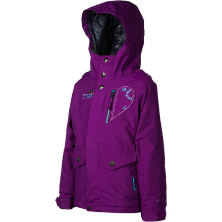 Snowboard If your little lady shredder is the type to get cold easily, hook her up with some extra warmth from the Volcom Penny Girls' Insulated Snowboard Jacket. It has 80g synthetic insulation and a Sherpa lining to keep her cozy and happy, and it features Zip Tech so she can hook the jacket up to her Volcom pants for ultimate snow-proofing. Don't worry about her growing out of it too quickly either, Grow Tech allows you to extend the length of the sleeves and body so you can make this durable jacket last even longer. - $80.98