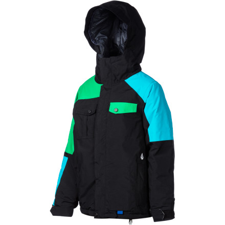 Snowboard The Volcom Boys' Genus Insulated Jacket gives your kid a great mix of moisture protection and warm insulation to keep him dry and warm when he's rocking his local mountain. That built-in insulation means he spends less time layering and is guaranteed warmth when he's out in cold weather. - $62.98