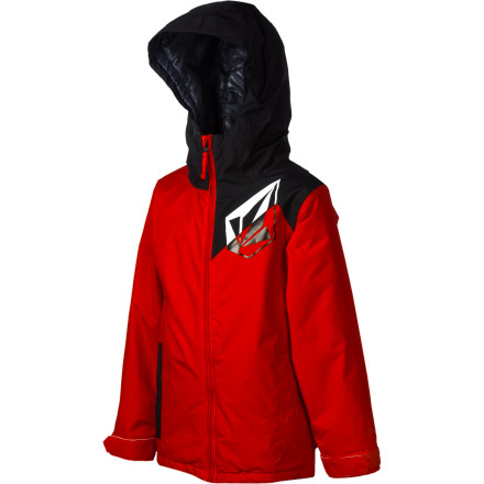 Snowboard Whether he's heading for the mountain or walking to school (where he will most likely skip class so he can head to the mountain anyway), the Volcom Boys' Mars Insulated Jacket keeps warmth in and cold out. You might not know where he is, but at least you can know that he's warm. - $45.48