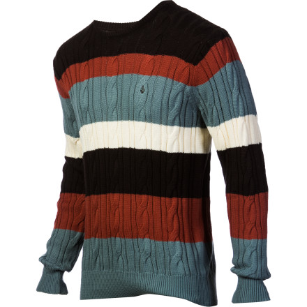 Surf Sweaters like the Volcom Men's Schmoogle Sweater make getting dressed a whole lot easier. All you have to do is pull this striped cable knit on over your head and go. There is no worrying about looking too sloppy or too dressed up because sweaters have the magic ability to create a look that is polished and laid-back at the same time. - $31.25