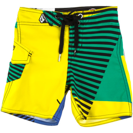Surf The Volcom Little Boys' Maguro Fun Board Shorts get your little sea monster ready whether he's hitting the ocean for the first time in the ocean or another summer of swimming lessons. - $23.97