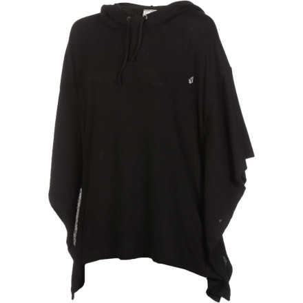 Surf Make a statement every time you sweep through a room wearing the Volcom Women's Happy Drifter Poncho. Soft, stretchy fabric flows from your shoulder to your waist; for extra drama, drape the oversized hood over your head. - $30.22