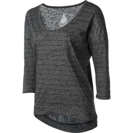 Entertainment Dress up your jeans with the slouchy, cropped Volcom Women's Moclov Shirt. Three-quarter sleeves complement the belly-baring cut of this sweet top. - $25.60