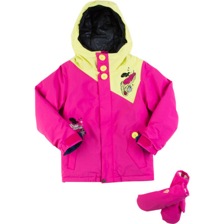 Snowboard Wrap your little snow goddess in the toasty warmth and solid weather protection of the Volcom Little Girls' Poppins Insulated Jacket so she can hit the snow like the teeny-tiny pro that she is. Whether she's outgrowing the bunny hill or perfecting the ancient art of snowman making, this jacket will keep her toasty so she can work on her skills without being bothered by the cold. - $47.99