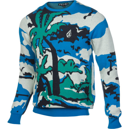Surf The Volcom Men's Five O Sweater brings a blast of summer fun to your cold-weather wardrobe. The tropical pattern contrasts with the warm cozy knit to create a mind-tickling juxtaposition that will put a smile on your face even when the weather is sad. - $47.67