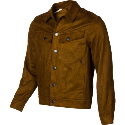 Surf Snap up the Volcom Men's Squiggy Suede Jacket and relive your childhood dream of being an outlaw cowboy. The faux suede and metal snap closures deliver the rugged look you need to boldly skate off into the sunset. - $49.25