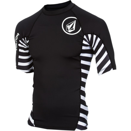 Surf Keep the sun off your back and your mind on the waves in the Volcom Radiant Men's Short-Sleeve Rashguard. It helps block out UV rays to protect your skin when you're sitting in the lineup all day and prevents your sand-covered board from chafing your chest when you're paddling. - $34.95