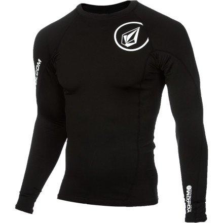 Surf Sure, even wearing a T-shirt out there will protect you better than nothing at all, but the Volcom Hotainer Men's Long-Sleeve Rashguard does more than that. It's 50+ UPF rated to shield your skin from the sun and it's made with elastane so it stretches with you when you're paddling or surfing. - $49.45