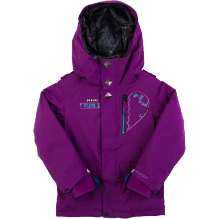Snowboard Keep your up-and-coming little ripper out on the slopes for longer in the Volcom Penny Little Girls' Insulated Snowboard Jacket. The V-Science outer fabric will keep her nice and dry, and 80g synthetic insulation and a Sherpa fleece lining provide all the toastiness she needs. Plus you can zip up the jacket to her Volcom pants to fully seal out snow. - $53.99