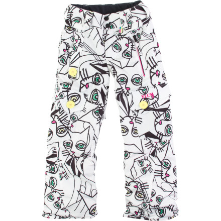 Snowboard Secure her slope-style comfort with the Volcom Little Girls' Kicks Insulated Pant. V-Science tech, cozy insulation throughout, and mesh-lined zippered vents keep her super happy while she learns how to ride and progresses from beginner terrain to blue squares. - $59.98