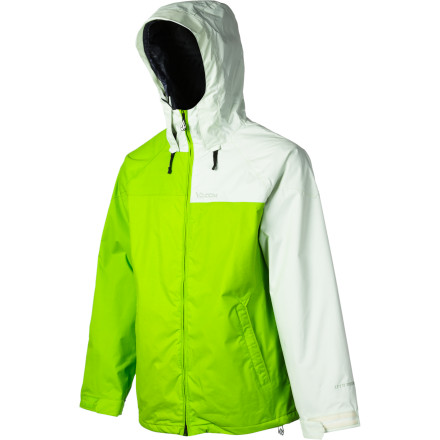 Snowboard The Volcom Cross-Stone Jacket does something that down jackets will never be able to do keep you warm when it's wet. Volcom's low-loft synthetic insulation locks in the heat without looking bulky, and 10K waterproofing is plenty of protection for all short of a a blizzard or a downpour. - $109.98