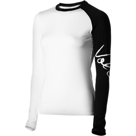Surf Put on the Volcom Women's Simply Stone Long-Sleeve Rashguard for long surf sessions in warm water. This lightweight rashguard helps keep you comfortable and keeps your arms from getting totally burned. - $43.95