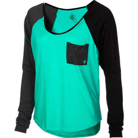 Surf Volcom Pocket Blocket Raglan Long-Sleeve T-Shirt - $21.56