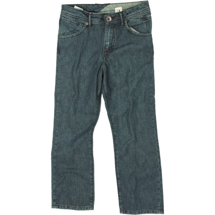 Surf The Volcom Little Boys' Nova Denim Pant's tough denim can take a few falls on asphalt while maintaining a certain level of handsome. - $44.95