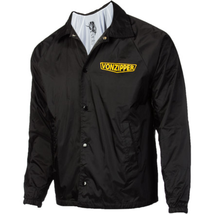 Snap up in the Von Zipper Fumes Coaches Jacket and take a little break from your volunteer job teaching kids how to hit balls with a bat. This slick windbreaker will keep you warm while you find a corner where you can pull out your lighter and relax properly. It's not your faultkids can be stressful. - $25.98