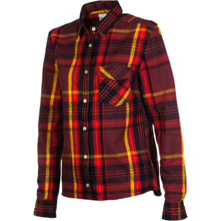 Entertainment Button up the WeSC Women's Klara Long-Sleeve Shirt and walk through Central Park to get a few pictures of the fall colors and maybe collect a few bright leaves to press in a book. This flannel top blends rural charm with urban style to give you a look that is a little bit city and a little bit country. - $29.38