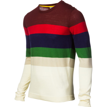 While the WeSC Men's Zoltan Sweater has no fortune-telling capabilities, we predict that you'll feel awesome and look even awesome-er in this soft, stripey pullover. Progressive horizontal stripes visually accentuate your massive pecs, and that's just as good as knowing your future anyway. - $38.97