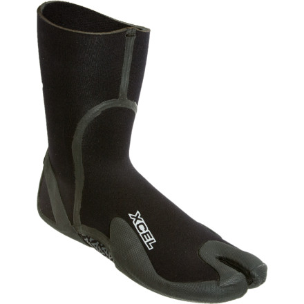 Surf Cold water still curls like it does when it's warm, so throw on the Xcel Men's SLX Split Toe Boot and feel the board beneath your feet during fall shredding sessions. A solid sole at the split toes of this 3mm bootie keeps you from losing a toe should your leash find it's way into the gap, and it offers supreme traction on your board. Limestone neoprene is seam-sealed to lock out chilly leaks and constructed with a low-profile shape to keep things streamlined, because nothing sucks worse than feeling like you're rocking clown shoes in a barrel. - $22.47