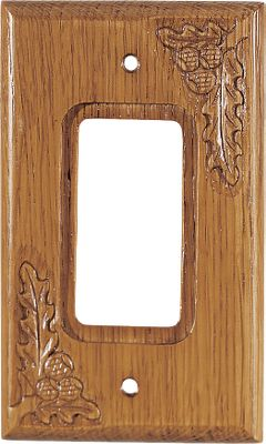 Hunting These solid-oak Single Rocker Switch/GFI Covers are hand-carved to put the finishing touches on any outdoor-themed room. They have a medium-oak lacquer finish and include mounting screws. Imported.Available: Pine Cone, Acorn, Duck, Maple Leaf. - $9.99