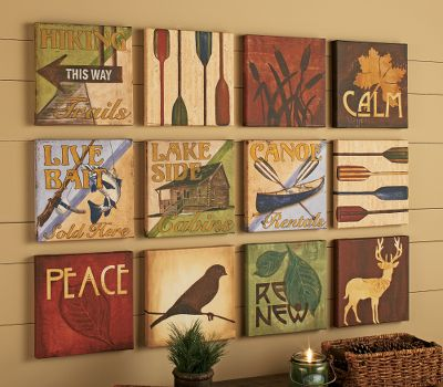 When its time to warm up a room with a bit of color and character, create a serene, cozy spot with our hand-finished 12-piece Locked and Loaded Canvas Art wall set. It includes twelve 10 x 10 canvas squares mounted on stretcher bars that can be hung in different configurations. Create one or multiple pieces of unique wall dcor. 10H x 10W x 1-1/2D. Available: Locked and Loaded. - $59.99