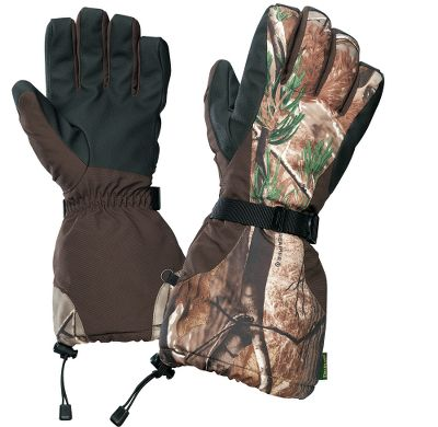 Extreme Cabela's designed these gloves with the most extreme conditions in mind and packed them with features vital to keeping your hands warm and dry. The ultratough shells contain Dry-Plus waterproof and breathable insert. Durable sure-grip palms enhance your grasp. Pre-curved hands and fingers enhance comfort and lend a natural feel. 200-gram Thinsulate Insulation keeps hands warm in the coldest weather. The oversized gauntlet cuffs increase protection by extending over your jacket sleeves and can be adjusted with integrated shock cords. Nylon web strap and wrist buckle. Imported.Sizes: M-2XL.Camo pattern: Realtree AP . - $39.99