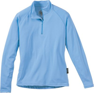 For the best in warmth and moisture-wicking ability on active days, enjoy the super-soft silklike feel of this 1/4-zip Mock Neck undershirt. 100% polyester jersey keeps you warm and dry when active on cold days. Imported. Sizes: S-2XL. Color: Light Blue. - $14.88