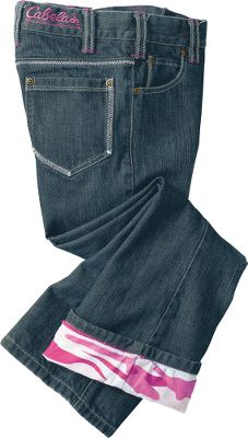 Supremely soft, the 99/1 pink camo cotton/spandex flannel lining keeps legs cozy when the cold winds blow. Stonewashed for a broken-in feel, and a moderate sanding at the thigh and back delivers just the right amount of fading. These denim jeans are built of 99/1 cotton/spandex for durability with a hint of stretch. Boot-cut openings. No. 5 zipper and an antiqued brass button. Imported. Sizes: 5-8, 10-16 (even). Color: Rinsed Indigo. Type: Jeans. Size: 10. Color: Rinsed Indigo. Size 10. Color Rinsed Indigo. - $19.88
