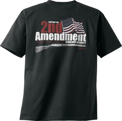Show your support for our country and the second amendment. The shirt for outdoorsmen who love their country. Taped seams and double-needle stitching on sleeves and bottom hem. 6.1-oz. cotton jersey. Machine washable. Imported. Sizes: M-2XL.Color: Black. - $17.99