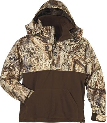 Hunting These waterfowl tops have an upper chest, shoulders and arms made of fleece that's been overlaid with waterproof, windproof, breathable microfleece. Below the chest, soft fleece offers maximum breathability and moisture management. The Hooded 1/4-Zip Top has a zippered placket for easy on and off plus extra ventilation. It also has deep water handwarmer pockets to keep your hands warm between the shooting action. Magnetic call pouch, license/key pouch and call separator. Imported. Sizes: M-3XL. Camo patterns: Mossy Oak Duck Blind , Realtree MAX-4 , Mossy Oak New Bottomland&174; . - $109.99