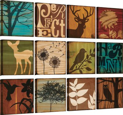 "Create a serene, cozy atmosphere at work or in your home office with this 12-piece wall set. Silhouettes against browns, ambers and greens reflect natures abundant tones. Includes twelve 10"" x 10"" canvas squares that can be hung in different configurations, creating a unique piece of wall dcor. Dimensions: 10""H x 10""W x 1-1/2""D. - $79.88"