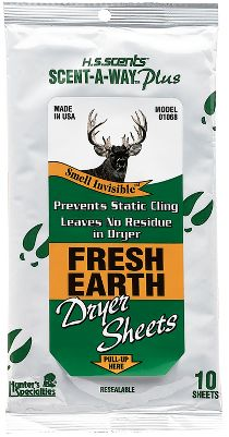Hunting Toss one of these sheets in the dryer to help control human odor on your hunting clothes. Permeates clothing with the natural smell of freshly turned earth. Per 10. - $3.88