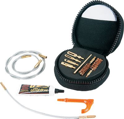 Hunting At the range or in the field, this portable pistol-cleaning kit handles bores from .22 to .45 caliber. Includes two caliber-specific .38- and .45-caliber bronze bore brushes, and 8, 12 and 20 Memory-Flex cables for effective cleaning. Also includes T-handle and obstruction-removal tools for clearing blockage. Packed in a 4H x 4W x 2-14D storage pack with a belt loop. Made in USA. Color: Bronze. - $39.99